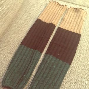 Green, Tan and Black Color Block Ribbed Legwarmers